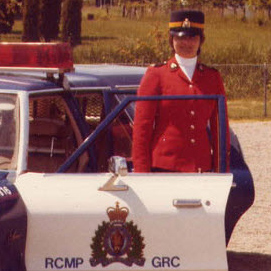 Photograph of an early RCMP female member at Surrey Detachment