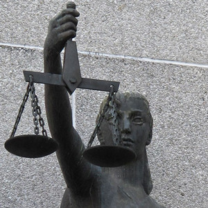 Photograph of the scale of justice statute